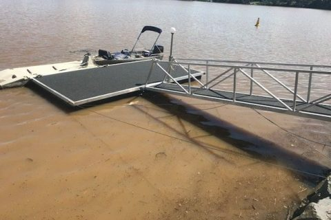 repaired aluminium pontoon whaler
